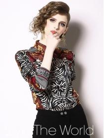 Vogue Lady Turn-down Collar Zebra Stripes Blouse