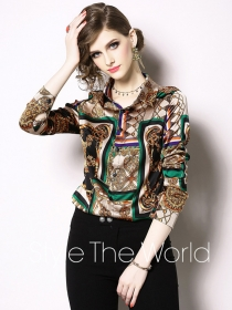 Europe Wholesale Abstract Flowers Long Sleeve Blouse