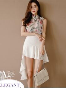 Pretty Lady Off Shoulder Flowers Blouse with Fishtail Short Skirt