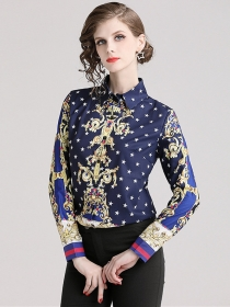 Summer Fashion Turn-down Collar Stars Printing Loosen Blouse