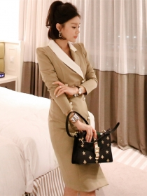 Quality OL Fashion Double-breasted Tailored Collar Coat Dresss