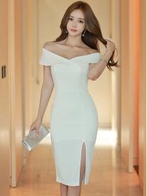 Korea Sexy Lady Boat Neck Split Skinny Tank Dress