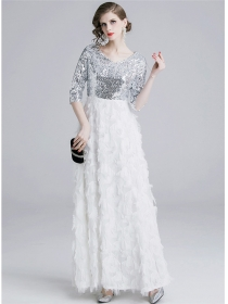 Europe Charming High Waist Sequins Feathers Maxi Dress