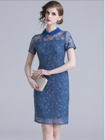 Elegant Fashion Doll Collar Flowers Hollow Out Lace Dress
