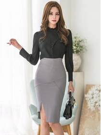 Korea OL Fashion Single-breasted Blouse with Skinny Midi Skirt