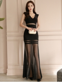 Sexy Lady V-neck High Waist Gauze Transparent Maxi Dress