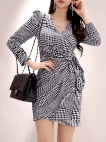 Wholesale Korea V-neck Tie Waist Plaids Bodycon Dress
