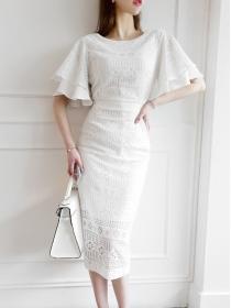 Korea OL Fashion Flare Sleeve Lace Bodycon Dress