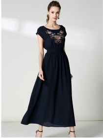 Europe Stylish Elastic Waist Embroidery Chiffon Maxi Dress