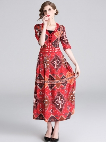 Bohemia Fashion V-neck High Waist Flowers Maxi Dress