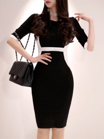 Modern Korea Color Block Round Neck Slim Dress