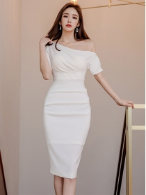 Wholesale Grace 2 Colors Off Shoulder Skinny Dress