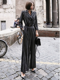 Quality Fashion Tailored Collar Stripes Long Jumpsuits