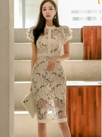 Korea OL Fashion Flouncing Lace Flowers Slim Dress
