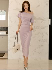 Boutique New Off Shoulder Embossing Stripes Long Dress