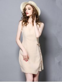 Wholesale Grace Round Neck Pleated Slim Tank Dress