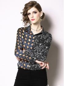 Summer Fashion Turn-down Collar Flowers Blouse