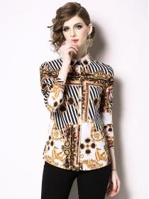 Fashion Europe Stripes Flowers Long Sleeve Blouse