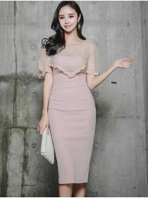 Elegant Lady Beads Gauze Wraps Splicing Skinny Dress