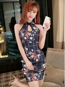Wholesale Fashion Plaids Flowers Off Shoulder Slim Dress
