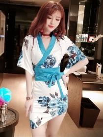 Lovely Fashion 2 Colors Tie Waist V-neck Flowers Dress