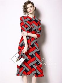 Europe Stylish Color Block Plaids Shirt A-line Dress