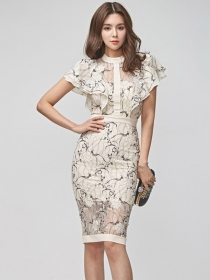 Elegant Lady Flouncing Shoulder Lace Skinny Dress