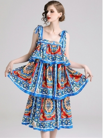 Lovely Europe Layered Flouncing Flowers Straps Long Dress