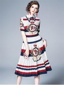 Summer Fashion Shirt Collar Flowers Pleated Dress