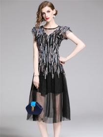 Charming Europe High Waist Sequins Gauze Fluffy Dress