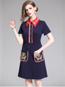 Quality Fashion Shirt Collar Bee Embroidery Bodycon Dress