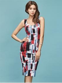 Wholesalel Korea Color Block Printings Skinny Tank Dress
