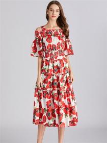 Pretty Charming Elastic Waist Boat Neck Flowers Long Dress