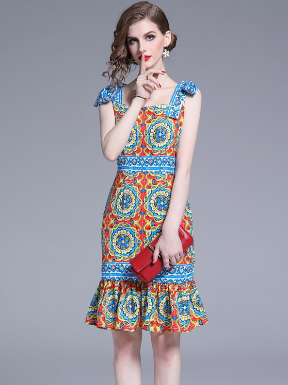 Charming Lady Tie Straps Flowers Fishtail Slim Dress