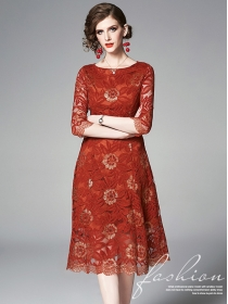Europe Stylish Round Neck Flowers Lace A-line Dress