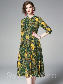Charming Wholesale Buttons High Waist Flowers A-line Dress