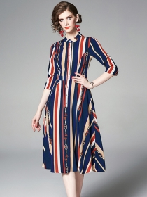 Classic Fashion High Waist Stripes Mid-sleeve Dress
