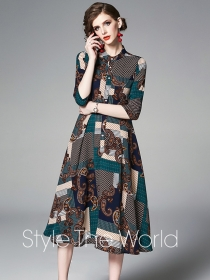 Fashion Retro High Waist Flowers Plaids Long Dress