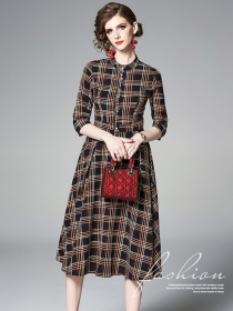 Wholesale Europe Round Neck Plaids A-line Dress