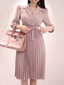 Grace Lady Tailored Collar Tie Waist Pleated A-line Dress