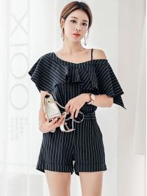 Summer Fashion Off Shoulder Stripes Short Leisure Suits