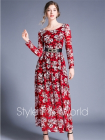 Europe Charming 3 Colors Flowers High Waist Lace Maxi Dress