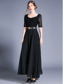 Wholesale Stylish High Waist Lace Splicing Chiffon Dress