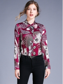 Europe Wholesale Peacock Flowers Slim Blouse