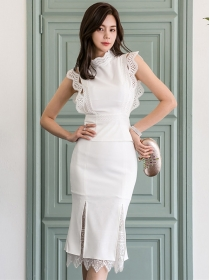 Elegant Lady Lace Splicing High Waist Fishtail Dress Set
