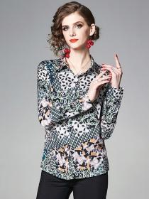 Wholesale Europe Flowers Shirt Collar Long Sleeve Blouse