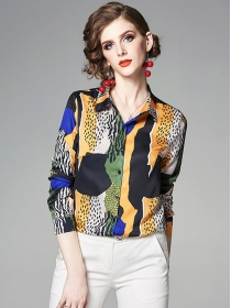 All Match Fashion Color Block Dots Long Sleeve Blouse