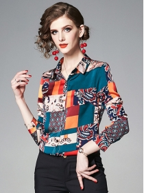 Summer Fashion Color Block Flowers Long Sleeve Blouse