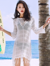 Summer Fashion 2 Colors Hollow Out Tassels Bikini Dress