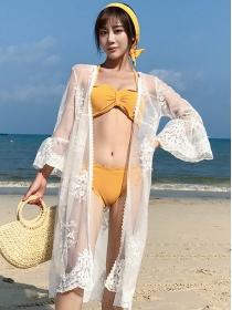 Wholesale Stylish Lace Flowers Sun-block Bikini Cover Dress